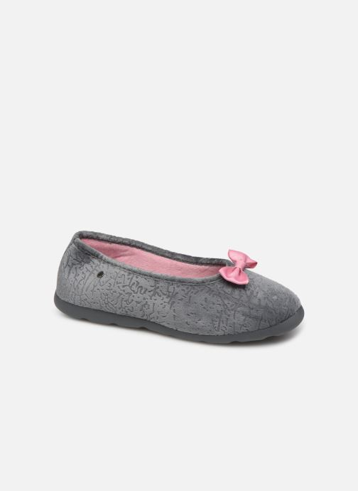 Slippers Isotoner Ballerine velours texturé Xtra flex Grey detailed view/ Pair view