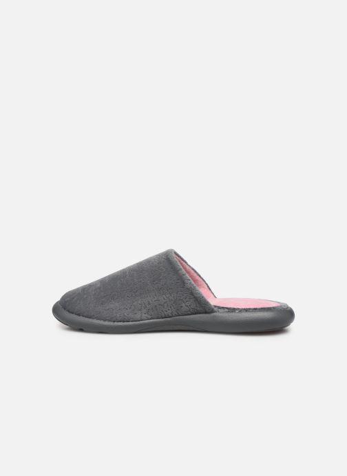 Slippers Isotoner Mule velours texturé semelle ergonomique Xtra flex Grey front view
