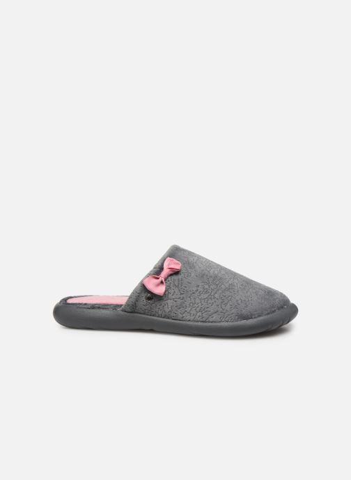 Slippers Isotoner Mule velours texturé semelle ergonomique Xtra flex Grey back view