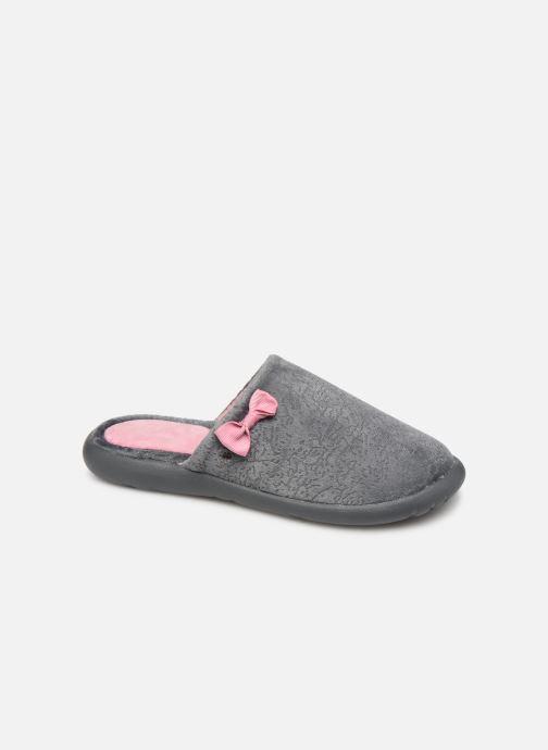 Slippers Isotoner Mule velours texturé semelle ergonomique Xtra flex Grey detailed view/ Pair view