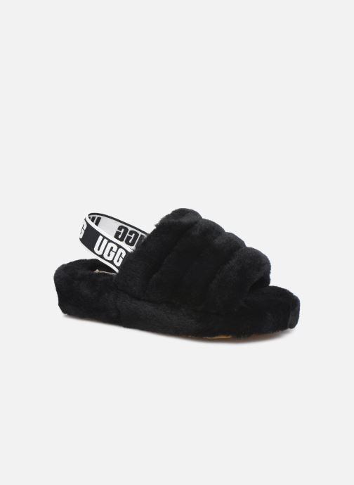 Chaussons UGG Fluff Yeah Slide Noir vue détail/paire