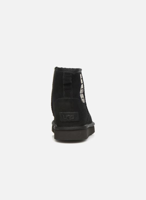 Botines  UGG Classic Mini Ugg Rubber Logo Negro vista lateral derecha