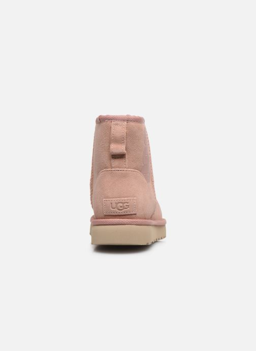 Botines  UGG Classic Mini Ugg Rubber Logo Rosa vista lateral derecha