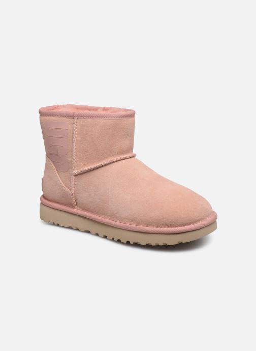 Bottines et boots UGG Classic Mini Ugg Rubber Logo Rose vue détail/paire