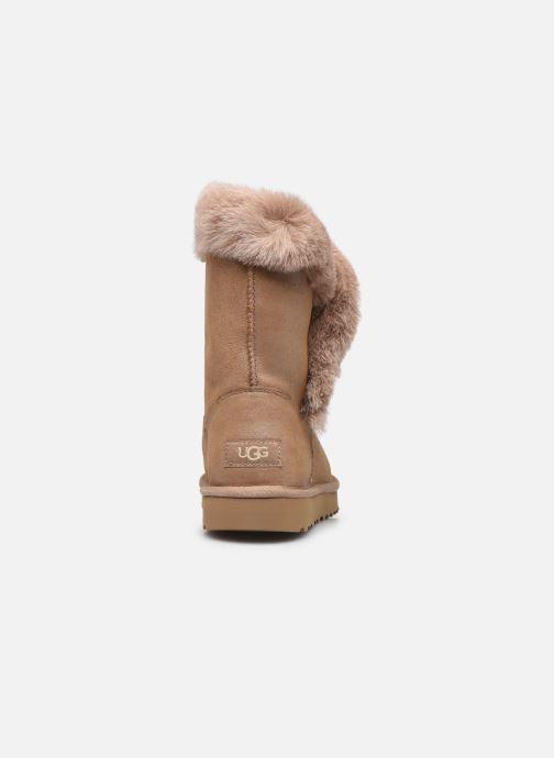 Bottines et boots UGG Classic Fluff Pin Marron vue droite