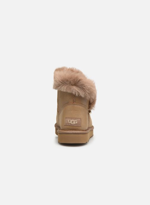 Bottines et boots UGG Classic Fluff Pin Mini Or et bronze vue droite
