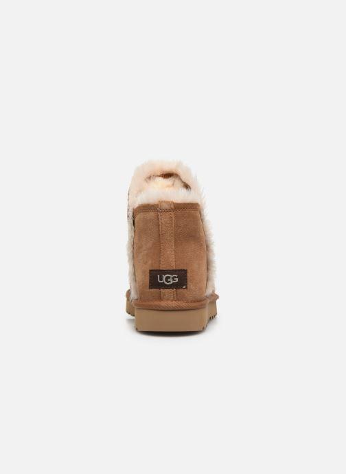 Botines  UGG Classic Mini Fluff High-Low Marrón vista lateral derecha