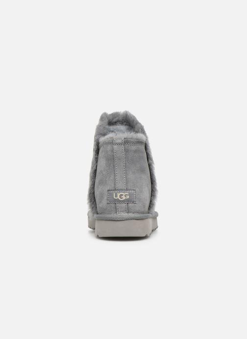 Botines  UGG Classic Mini Fluff High-Low Gris vista lateral derecha