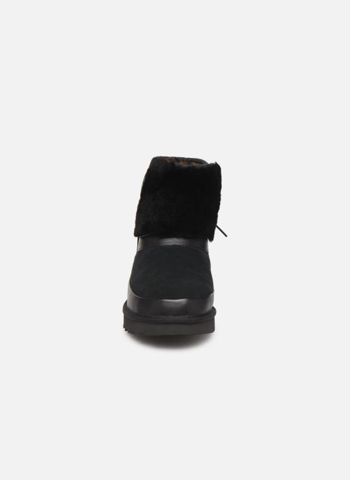 Stiefeletten & Boots UGG Classic Leopard Lined Bow schwarz schuhe getragen