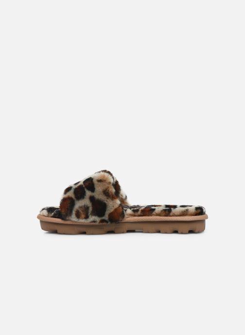 Pantuflas UGG Cozette Leopard Marrón vista de frente