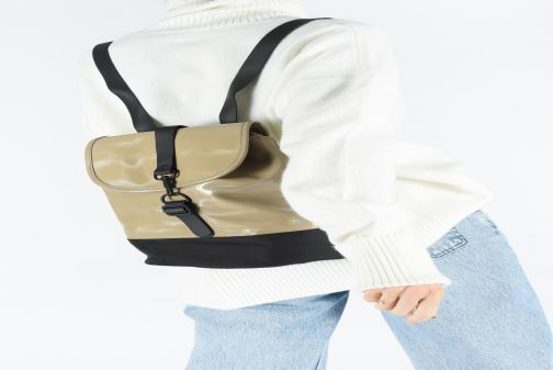 Rucksacks Rains  Holographic Drawstring Backpack Beige view from underneath / model view