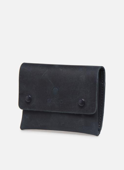 Marroquinería pequeña Faguo Wallet Snap Leather Azul vista del modelo