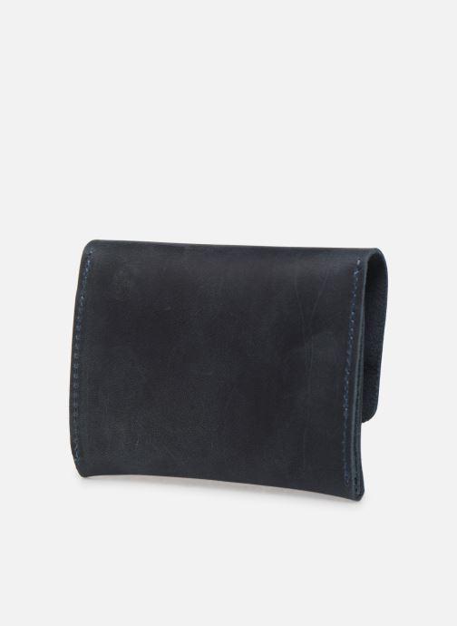Kleine lederwaren Faguo Wallet Snap Leather Blauw rechts