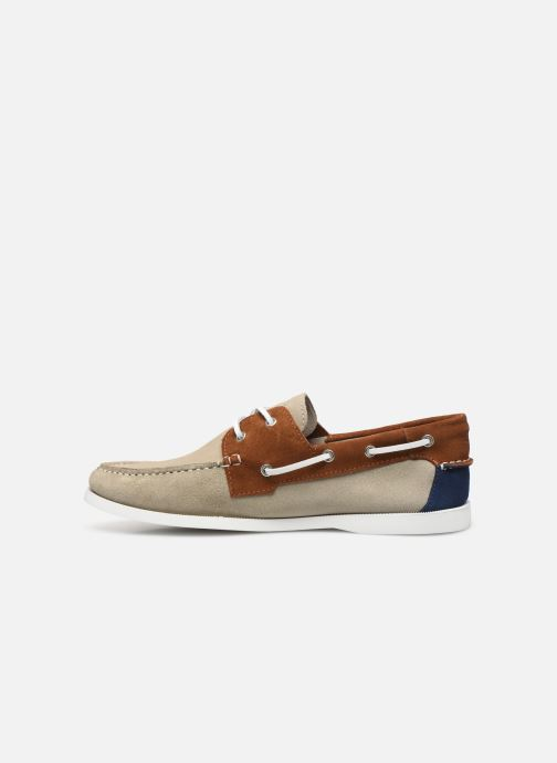 Chaussures à lacets Faguo Boat Shoes Larch Suede Beige vue face