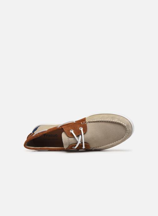 Zapatos con cordones Faguo Boat Shoes Larch Suede Beige vista lateral izquierda