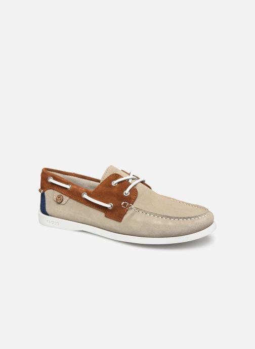 Zapatos con cordones Faguo Boat Shoes Larch Suede Beige vista de detalle / par