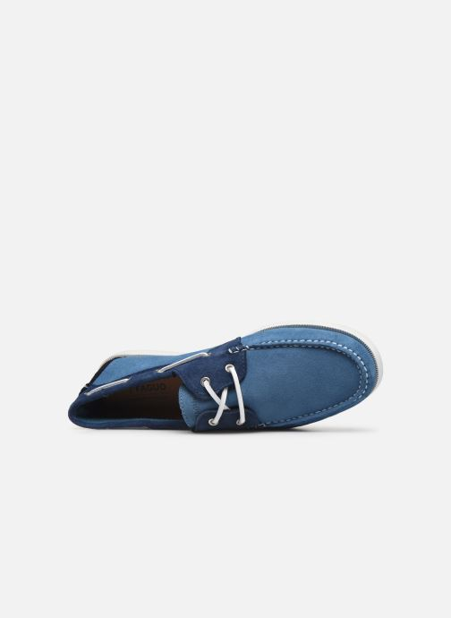 Lace-up shoes Faguo Boat Shoes Larch Suede Blue view from the left