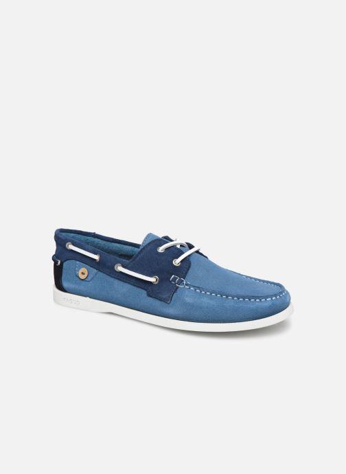 Zapatos con cordones Faguo Boat Shoes Larch Suede Azul vista de detalle / par