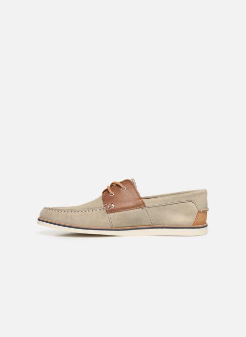 Zapatos con cordones Faguo Boat Shoes Larch B Suede Beige vista de frente