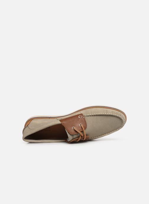 Zapatos con cordones Faguo Boat Shoes Larch B Suede Beige vista lateral izquierda