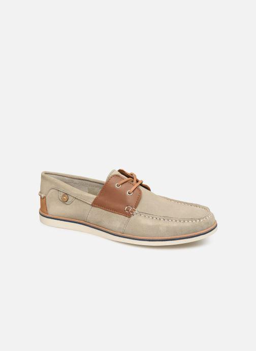 Zapatos con cordones Faguo Boat Shoes Larch B Suede Beige vista de detalle / par