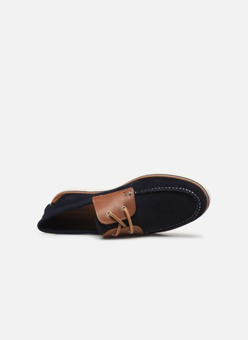 Lace-up shoes Faguo Boat Shoes Larch B Suede Blue view from the left