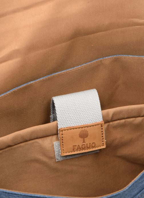 Kleine lederwaren Faguo Messenger Syn Wov Blauw achterkant
