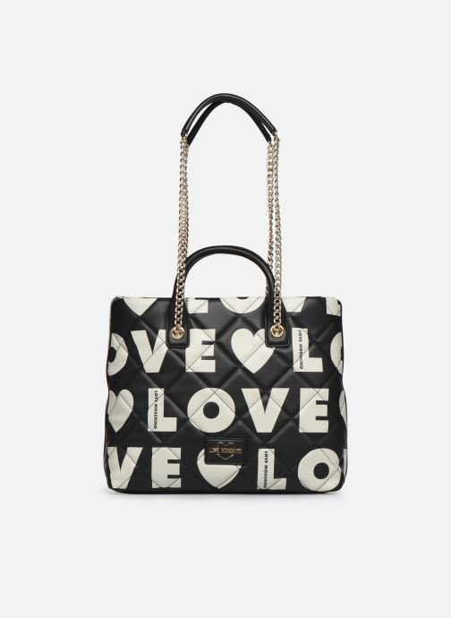 Borsa shopping Love Moschino donna logo all over beige nero