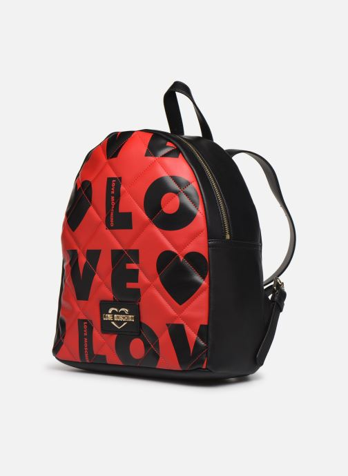 Sacs à dos Love Moschino LOVE IS ALLOVER BACKPACK Rouge vue portées chaussures