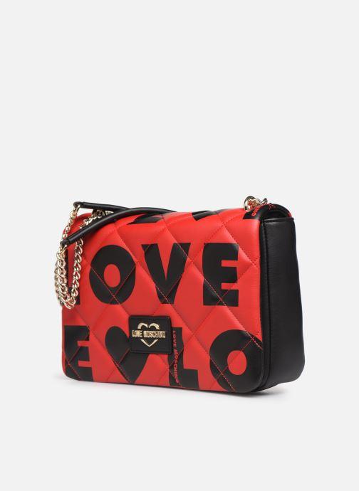 Sacs à main Love Moschino LOVE IS ALLOVER SATCHEL Rouge vue portées chaussures