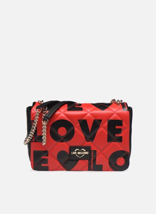 Bolsos de mano Love Moschino LOVE IS ALLOVER SATCHEL Rojo vista de detalle / par