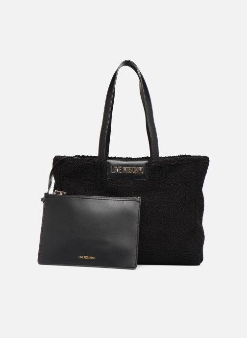 Handtaschen Love Moschino STAY WARM TOTE REVERSIBLE schwarz ansicht von links