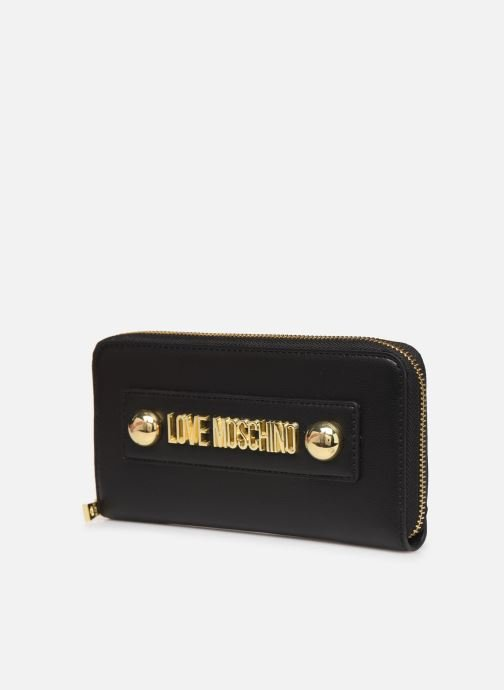 Petite Maroquinerie Love Moschino LETTERING LOVE MOSCHINO ZIP AOURND Noir vue portées chaussures