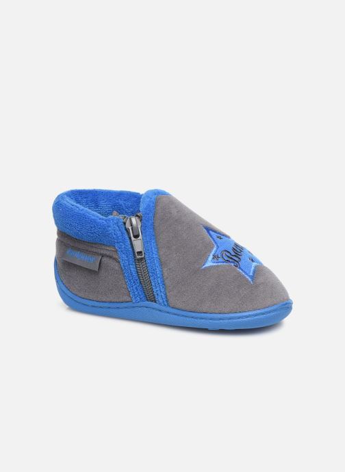 Slippers Isotoner Botillon zip velours Grey detailed view/ Pair view