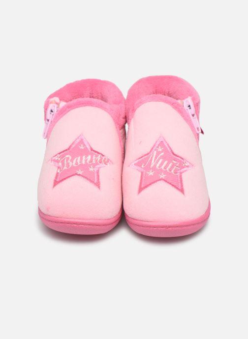 Chaussons Isotoner Botillon zip velours Rose vue portées chaussures