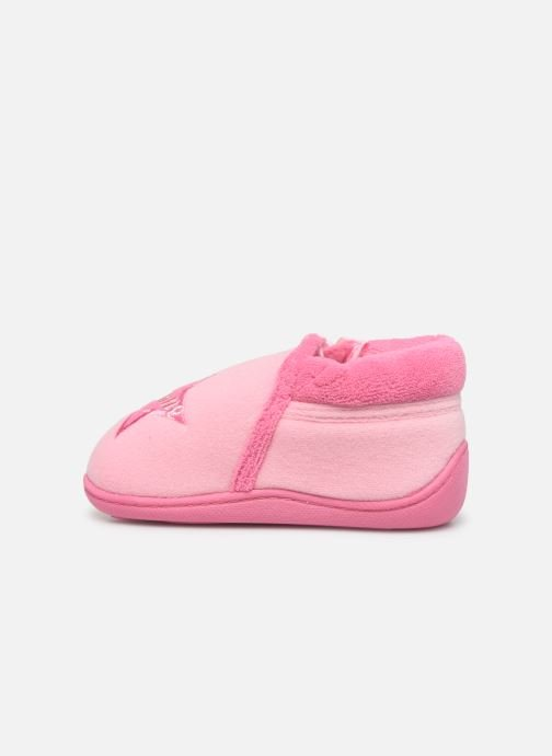 Slippers Isotoner Botillon zip velours Pink front view