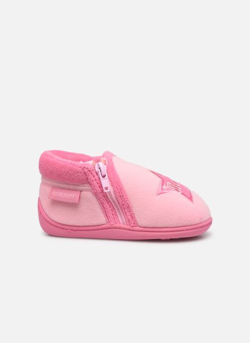 Slippers Isotoner Botillon zip velours Pink back view