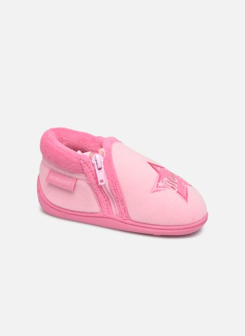 Slippers Isotoner Botillon zip velours Pink detailed view/ Pair view