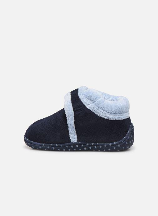 Pantofole Isotoner Botillon velcro suédine Azzurro immagine frontale