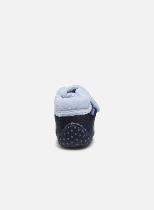 Pantoffels Isotoner Botillon velcro suédine Blauw rechts