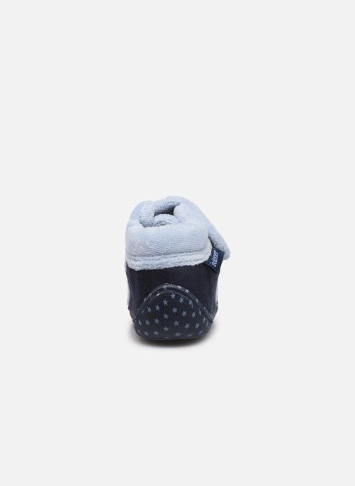 Pantofole Isotoner Botillon velcro suédine Azzurro immagine destra