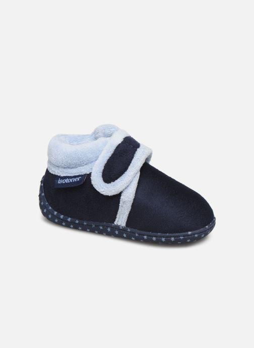 Pantofole Isotoner Botillon velcro suédine Azzurro vedi dettaglio/paio