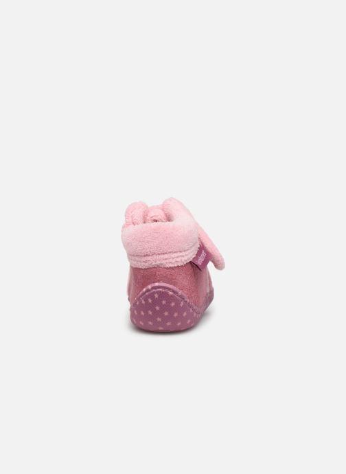 Pantoffels Isotoner Botillon velcro suédine Roze rechts