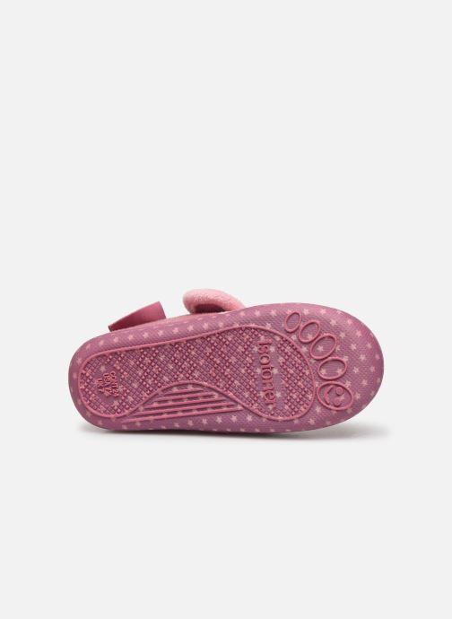 Pantoffels Isotoner Botillon velcro suédine Roze boven