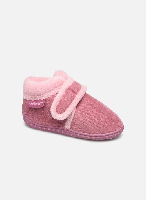 Pantofole Isotoner Botillon velcro suédine Rosa vedi dettaglio/paio