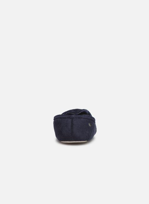 Chaussons Isotoner Sans-gêne suédine Bleu vue droite