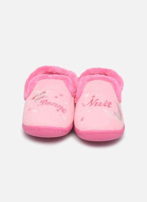 Hausschuhe Isotoner Charentaise polyvelours rosa schuhe getragen