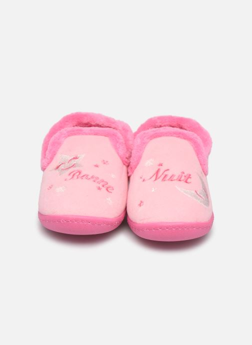 Chaussons Isotoner Charentaise polyvelours Rose vue portées chaussures