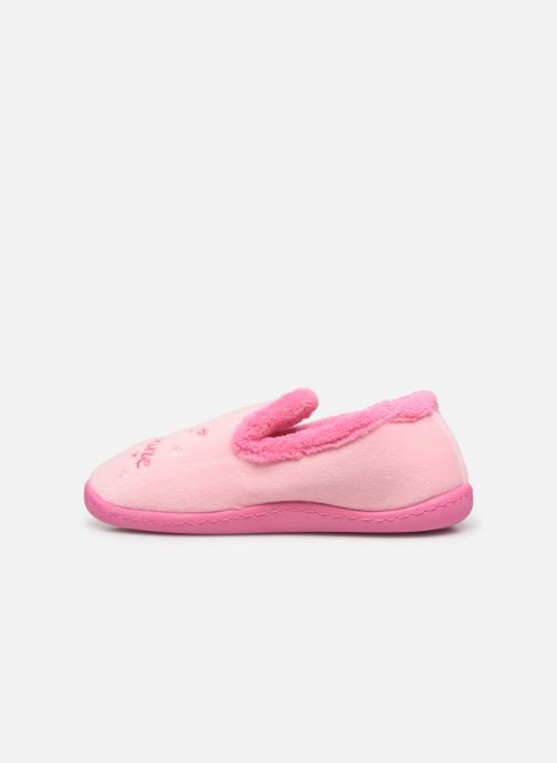 Chaussons Isotoner Charentaise polyvelours Rose vue face