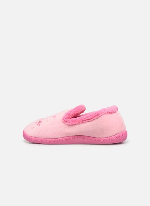 Hausschuhe Isotoner Charentaise polyvelours rosa ansicht von vorne